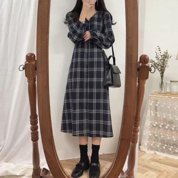 Baju Dress Lengan Panjang Motif Kotak Asli