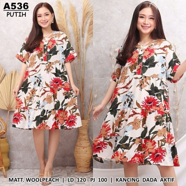 Baju Dress Pendek Motif Ukuran Jumbo Big Size