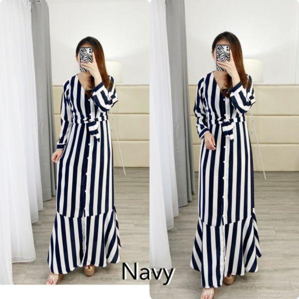 Baju Gamis Long Dress Belang Kerah V Modern
