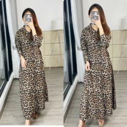 Baju Gamis Motif Leopard Bahan Katun Modern