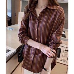 Baju Kemeja Wanita Hem Stripe Lengan Panjang Modis