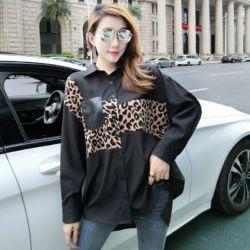 Baju Kemeja Wanita Oversize Panjang Motif Leopard