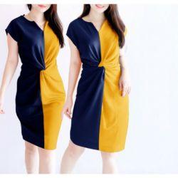 Baju Mini Dress Lilit Kombinasi Cantik Dua Warna