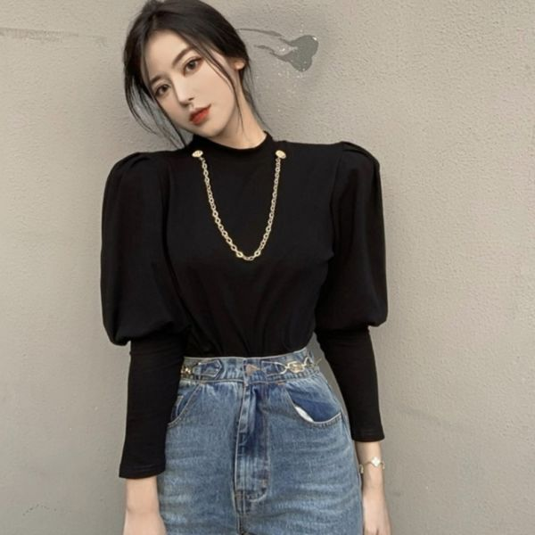 Blouse Cewek Necklace Knit Top Balon Lengan Panjang