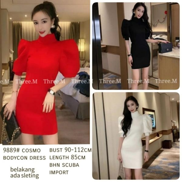 Dress Pendek Bodycon Bahan Scuba Model Puff