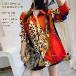 Model Baju Atasan Wanita Leopard Shirt Warna Merah