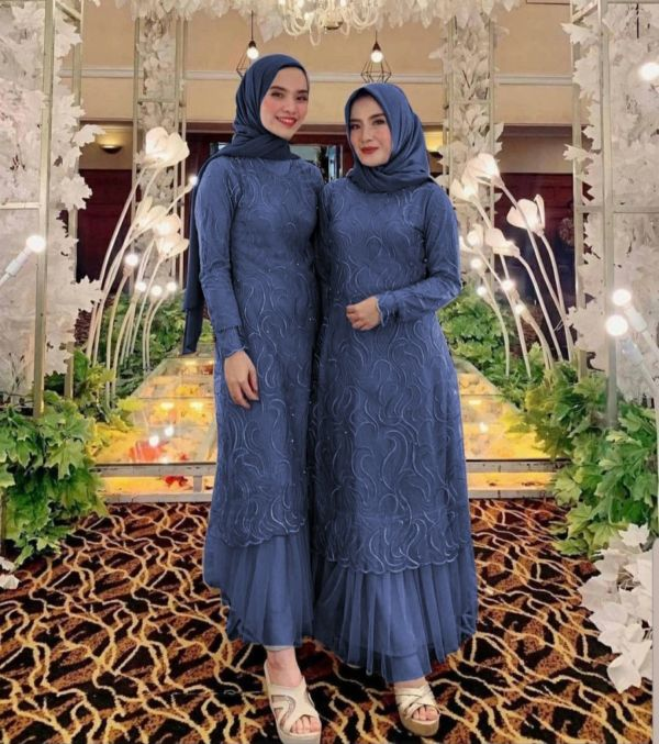Model Baju Gamis Pesta Tille Cantik Terbaru