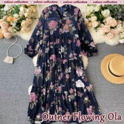 Model Baju Outer Cardigan Chifon Panjang Motif