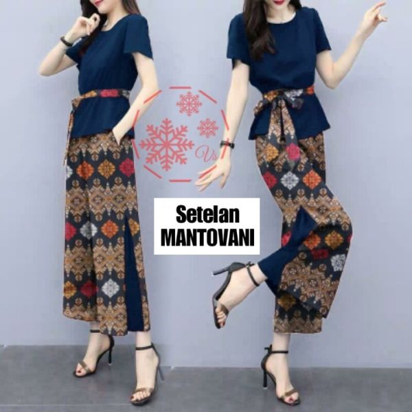 Setelan Baju dan Celana Panjang Motif Batik Modern