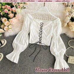 Baju Atasan Wanita Blouse Cross Tali Model Sabrina