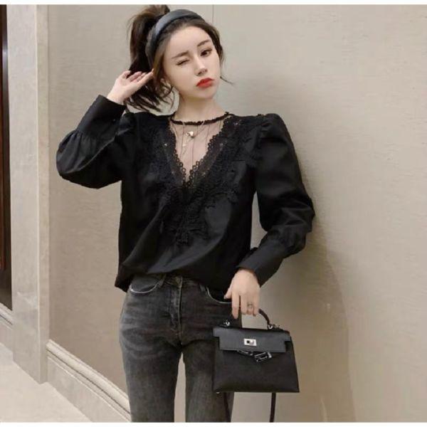 Baju Atasan Wanita Blouse Kombinasi Brukat Cantik