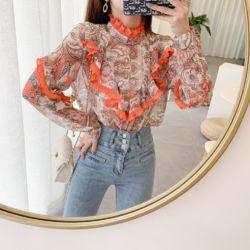 Baju Atasan Wanita Gaya Korea Blouse Ruffle Motif