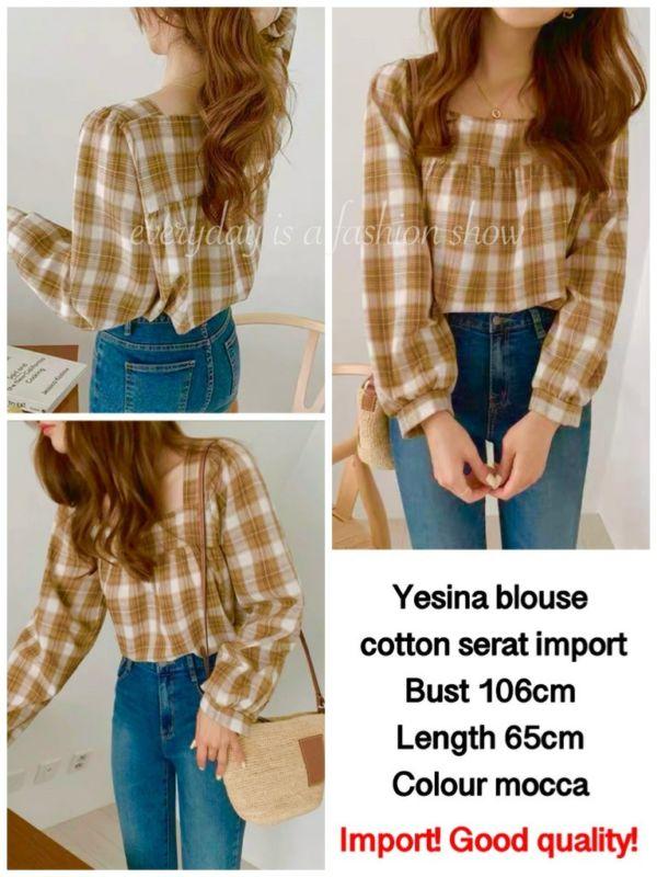 Baju Atasan Wanita Yesina Blouse Motif Kotak Modern