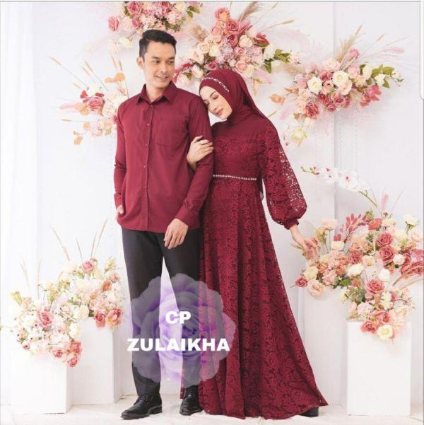 Baju Couple Gamis Brukat dan Kemeja Lengan Panjang
