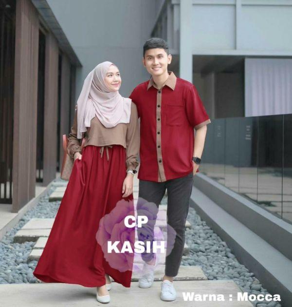 Baju Couple Gamis dan Kemeja Lengan Pendek