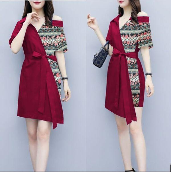 Baju Dress Batik Pendek Dewasa Model Sabrina
