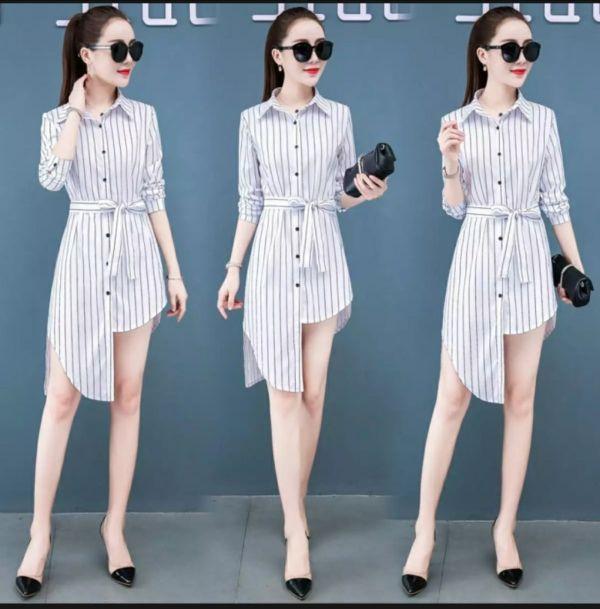 Baju Dress Dewasa Motif Salur Belang Model Terbaru