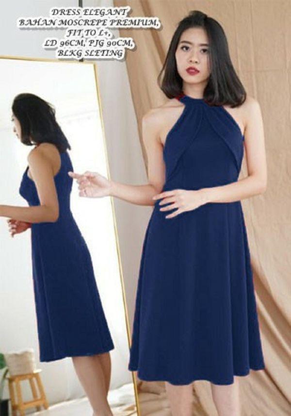 Baju Dress Elegan Lengan Buntung Model Terbaru