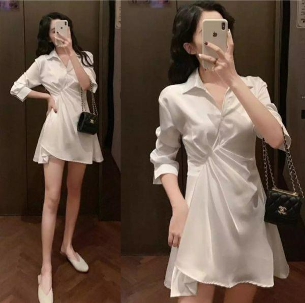 Baju Dress Kancing Model Elegan Cantik Terbaru