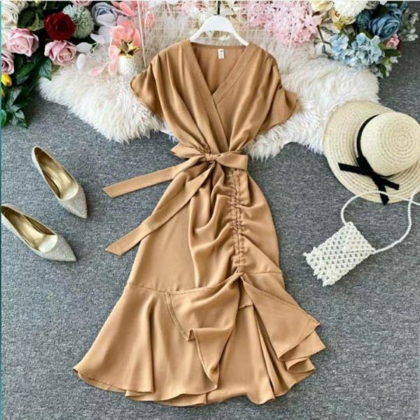 Baju Dress Pendek Aplikasi Tali Serut Modern