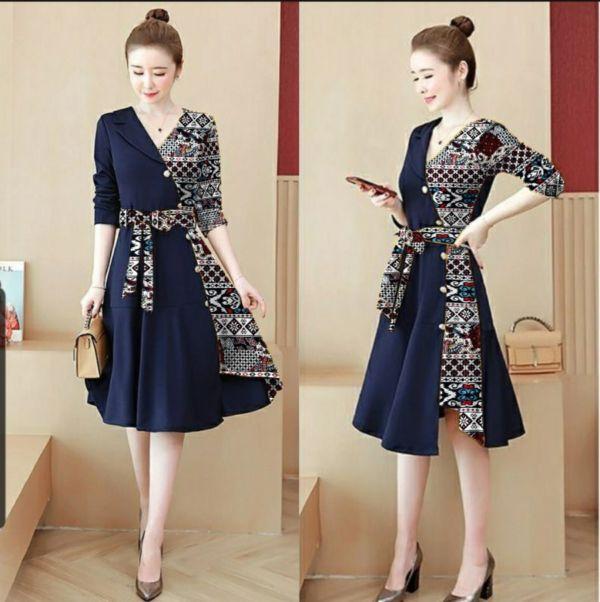 Baju Dress Pendek Kombinasi Motif Batik Modern