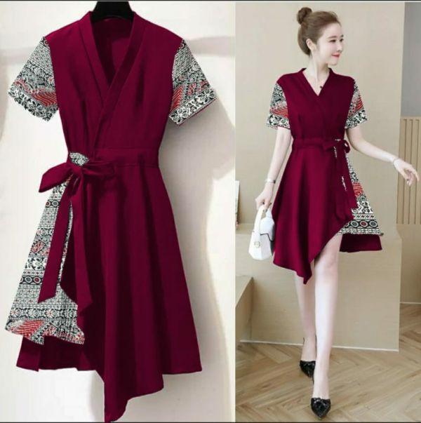 Baju Dress Pendek Pesta Kombinasi Motif Batik