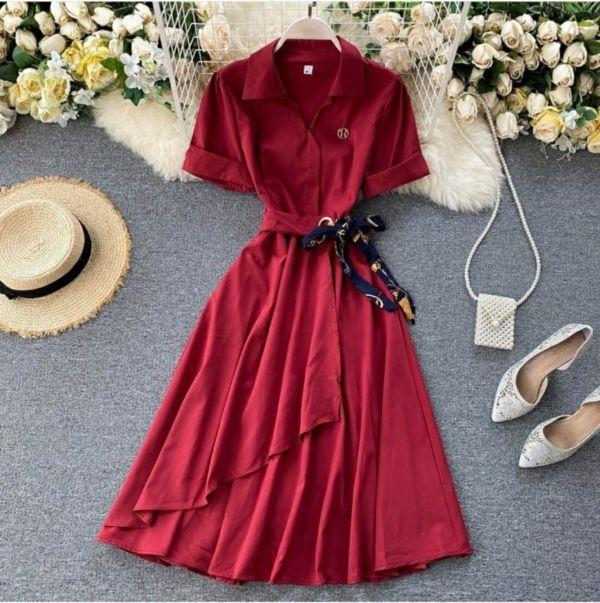 Baju Dress Pendek Polos Elegan Aplikasi Tali Pita