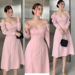 Baju Dress Pesta Lengan Panjang Model Sabrina