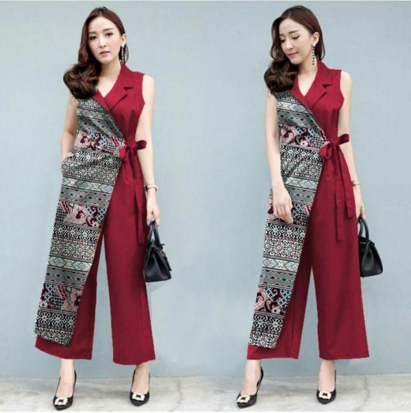 Baju Jumpsuit Dewasa Kombinasi Motif Batik