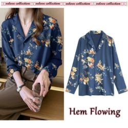 Baju Kemeja Wanita Silky Motif Bunga Modern