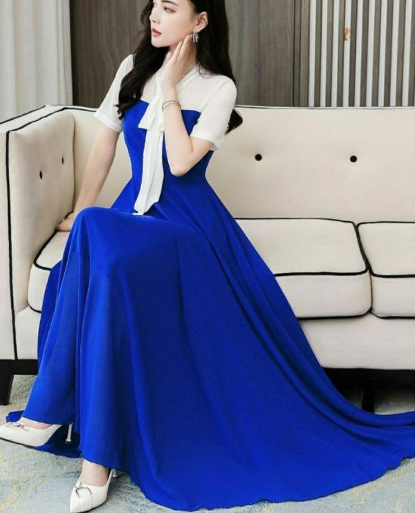 Baju Long Dress Maxy Pesta Simple Model Terbaru