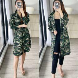 Baju Long Kemeja Wanita Motif Army Model Terbaru