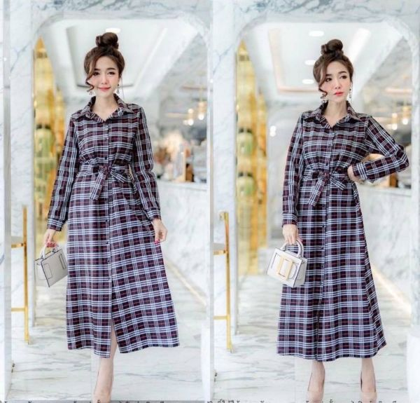 Baju Maxy Long Dress Motif Kotak Burberry Modis