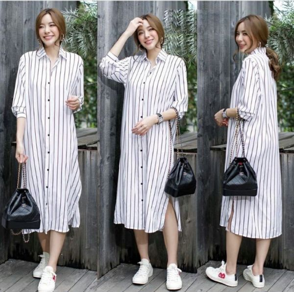 Baju Midi Dress Motif Garis Belang Lengan Panjang