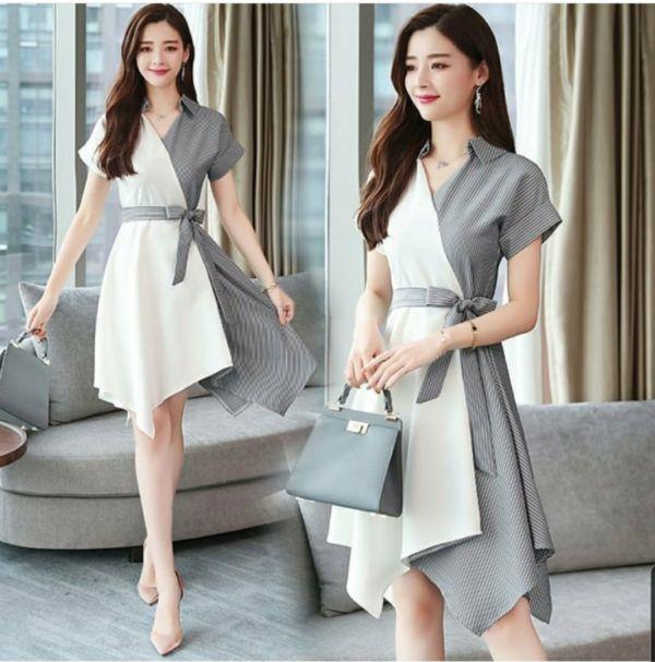 Baju Mini Dress Pendek Kombinasi Dua Warna Cantik