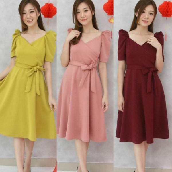 Baju Mini Dress Pendek Pesta Bahan Scuba Cantik