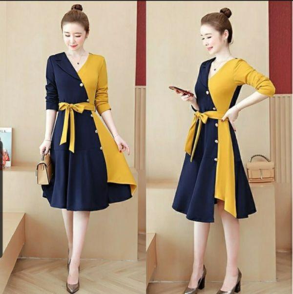 Baju Mini Dress Pesta Dewasa Kombinasi Warna