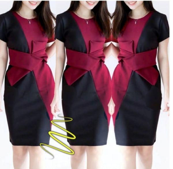 Baju Mini Dress Twotone Bahan Scuba Cantik