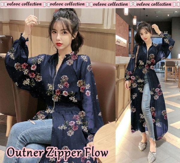 Baju Outer Long Cardigan Zipper Chifon Motif Bunga