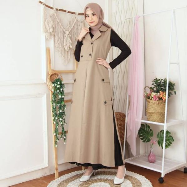 Baju Outer Long Vest Modern Model Terbaru