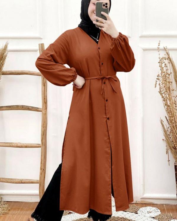 Baju Tunik Atasan Muslim Wanita Ada Tali Obi