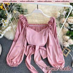 Baju Wanita Polos Blouse Crop Belakang Karet