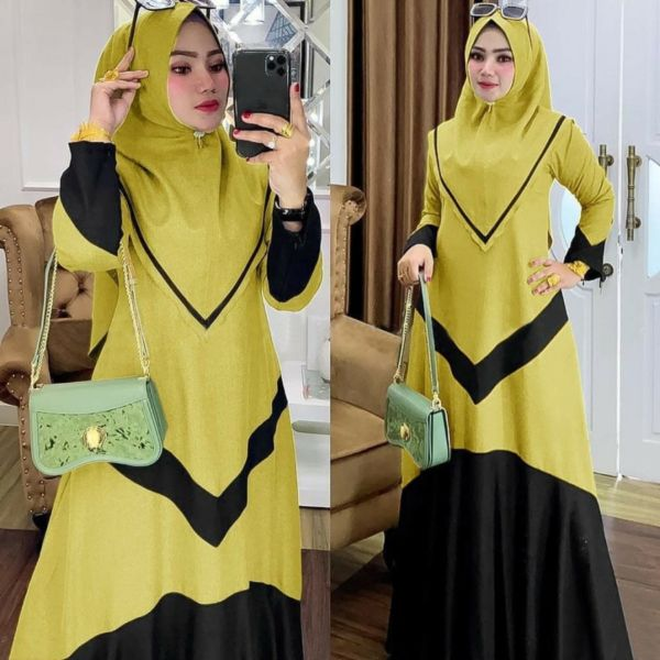 Model Terbaru Baju Gamis Syari Setelan Khimar