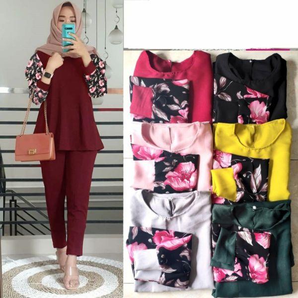 One Set Pakaian Muslim Wanita Tunik dan Celana Panjang