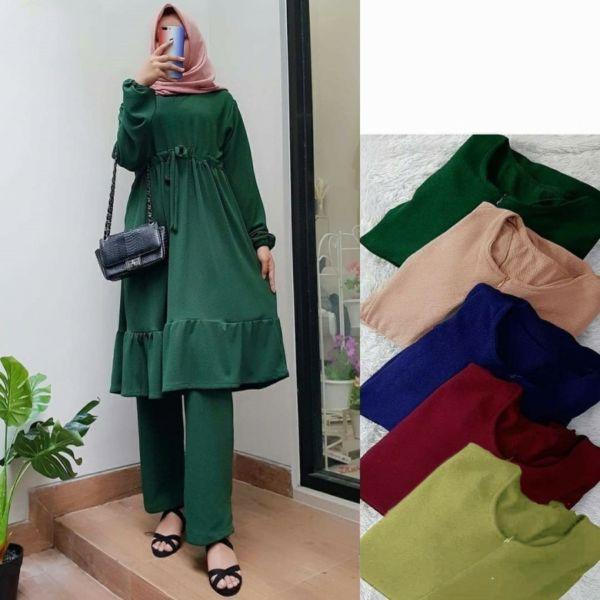 Setelan Pakaian Muslim Wanita Tunik dan Celana Panjang
