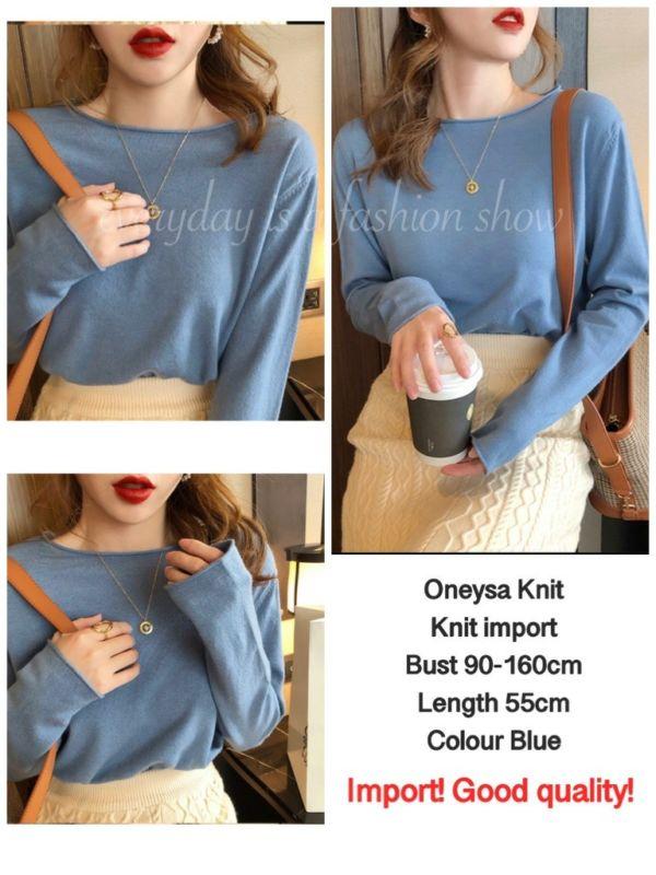 Baju Atasan Wanita Blouse Rajut Knit Top Modern