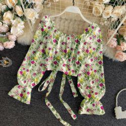 Baju Atasan Wanita Crop Top Motif Bunga Cantik