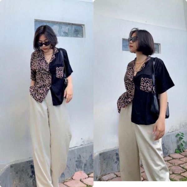 Baju Blouse Lengan Pendek Wanita 2Tone Kombinasi
