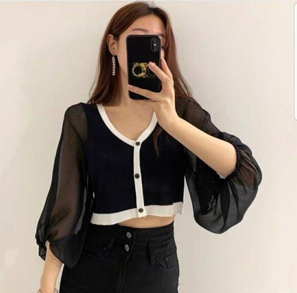 Baju Crop Top Kombinasi Chifon Lengan Transparan