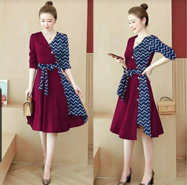 Baju Dress Pendek Modis Kombinasi Motif Zig-zag